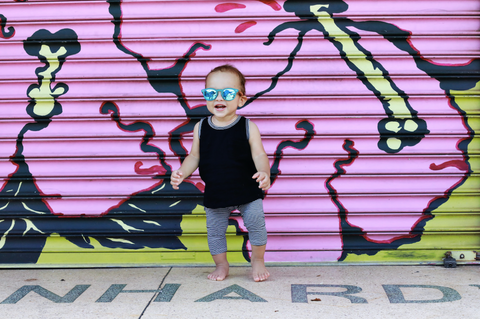toddler in sunglasses