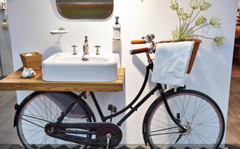 upcycled bike into sink