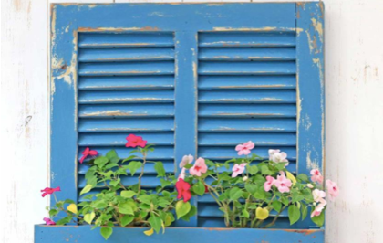 upcycled shutters into flower box