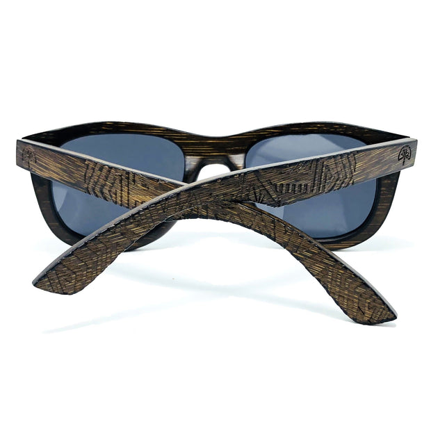 Unisex Dark Bamboo Wayfarer Polarized Sunglasses - Wildwood Sunglasses Canada