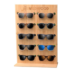 Bamboo Wooden Sunglasses Display Stand Organizer - Wildwood Eyewear | Sunglasses Canada