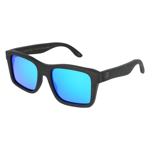 Wildwood Islander Maple Wood Sunglasses with Rectangular Frames and Ice Blue Mirror Polarized Lenses