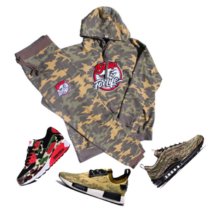 Unisex Camouflage Jogger Set w/Chenille Patch (Shoes Not For Sale)