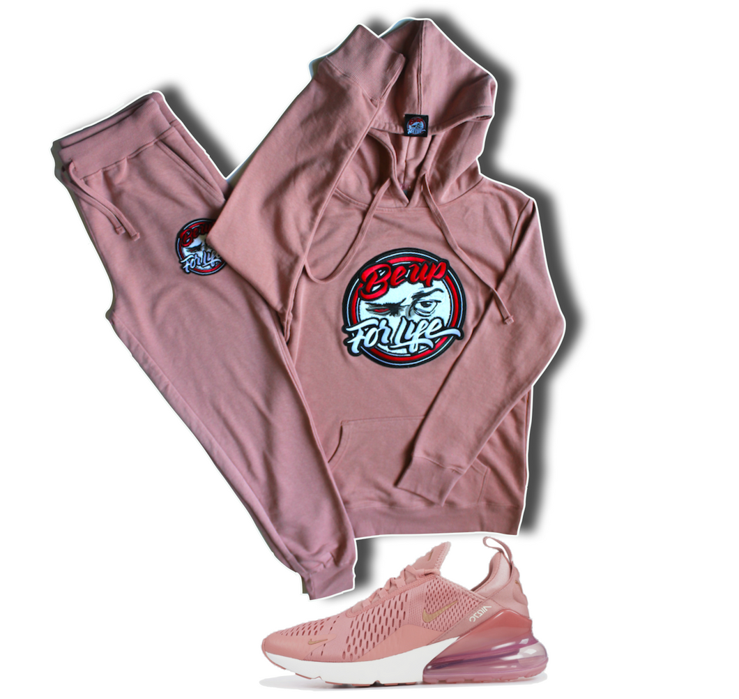 Ladies Dusty Rose, French Terry Jogger w/Chenille Patch