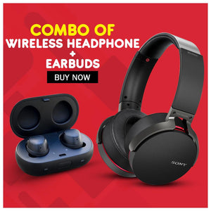 COMBO OFFER - WIRELESS HEADPHONE WITH EARBUDS