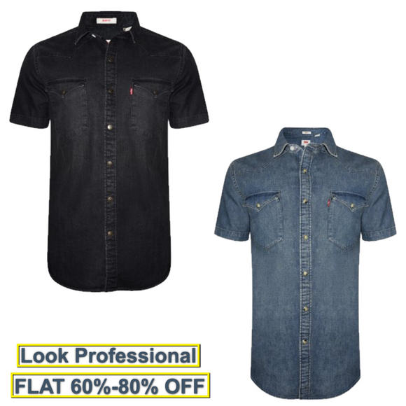 Avenue Men's Half Sleeve Denim Shirt Combo Shirt-Pack of 2