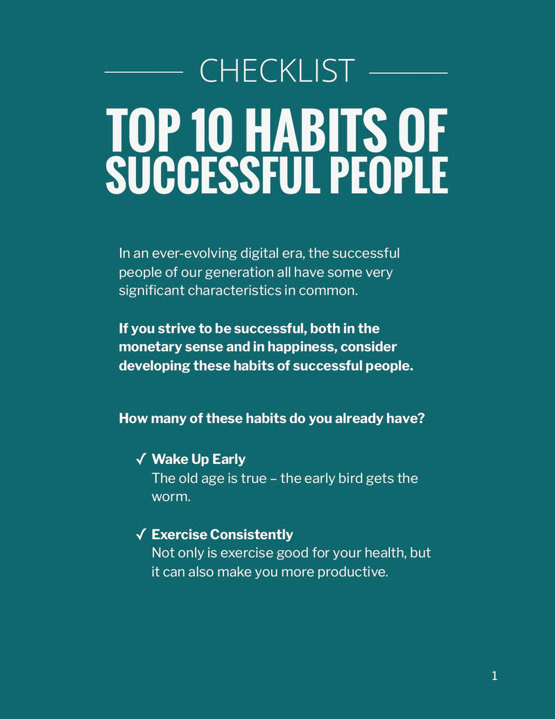 Top 10 Habits of Successful People - Checklist – (Downloadable – PDF)