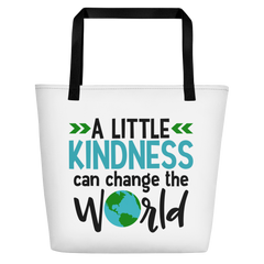 A Little Kindness Can Change the World - Blue - Beach Bag