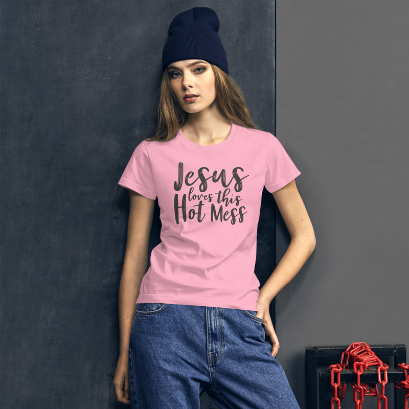 Jesus Loves This Hot Mess - Women's Cotton T-Shirt