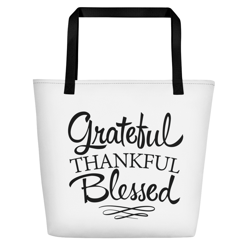 Grateful Thankful Blessed - Beach Bag