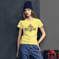 Believe Cross - Women's Cotton T-Shirt