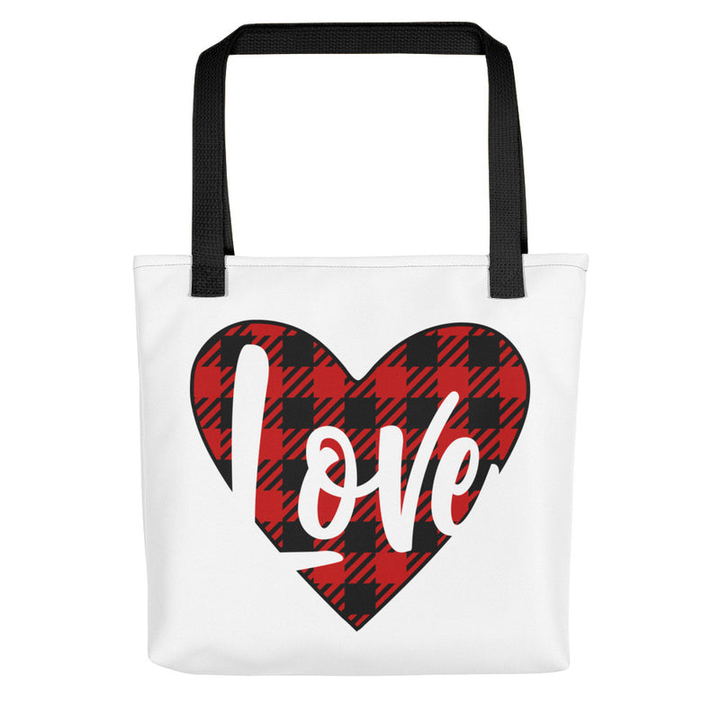 Love Heart Plaid - Tote Bag