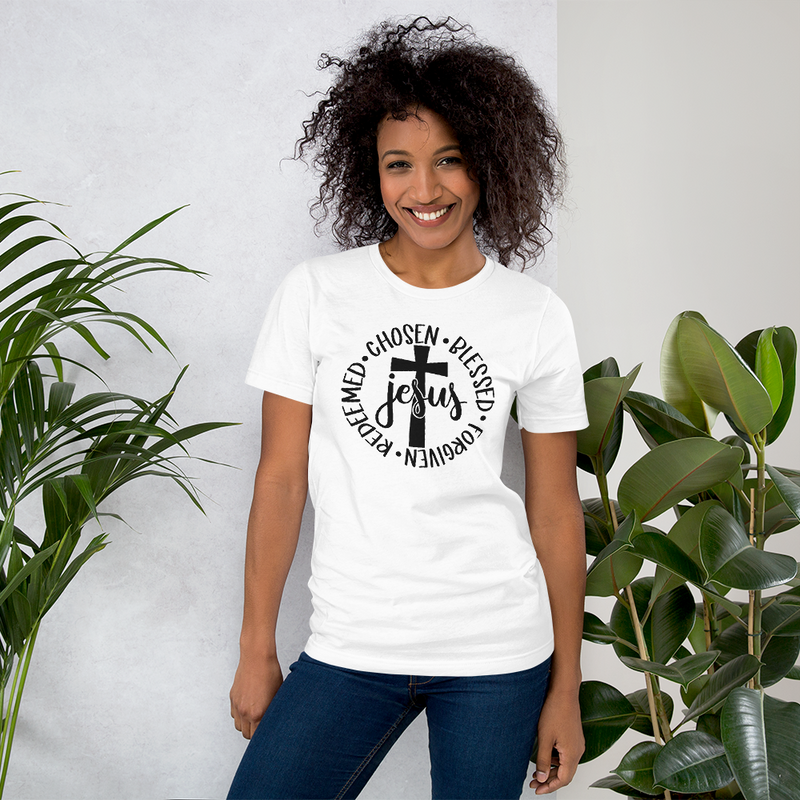 Jesus - Chosen Blessed Forgiven Redeemed - Cotton T-Shirt