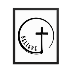 Believe Circle Cross - Framed Poster