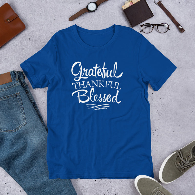 Grateful Thankful Blessed - Cotton T-Shirt
