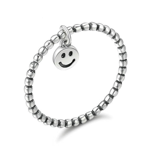 Silver Lovely Smiley Face Dangle Finger Charm Ring