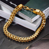 Stainless Steel Unisex Rope Chain Bracelet Gold