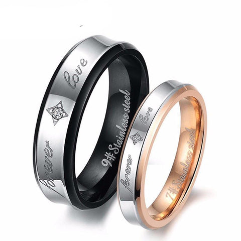"""Forever Love"" Couples Matching Stainless Steel Ring Wedding Engagement Band"