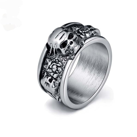 Silver Gothic Day Of The Dead Skull Ring