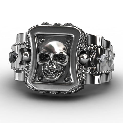 Mens Zinc Alloy Punk Rock Skull Ring