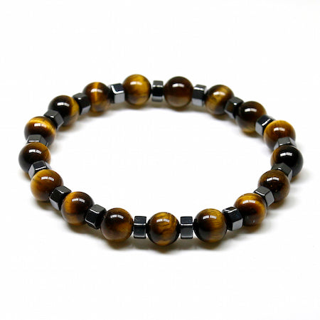 Natural Stone Hematite Beaded Tiger Eye Bracelet