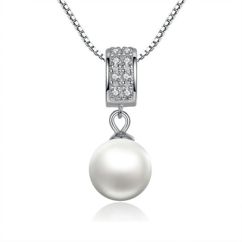 Silver Simulated Pearl Pendant Long Chain Necklace