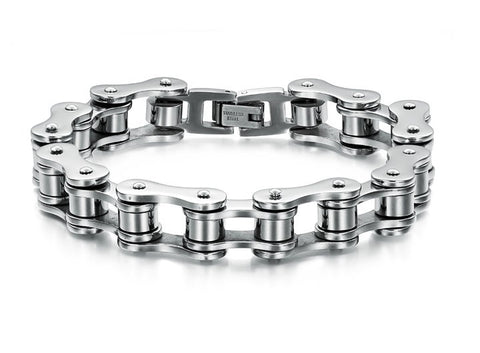 Mens Titanium Steel Vintage Biker Bicycle Chain Bracelet