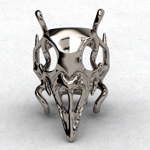 Gothic Crow Skull Ring