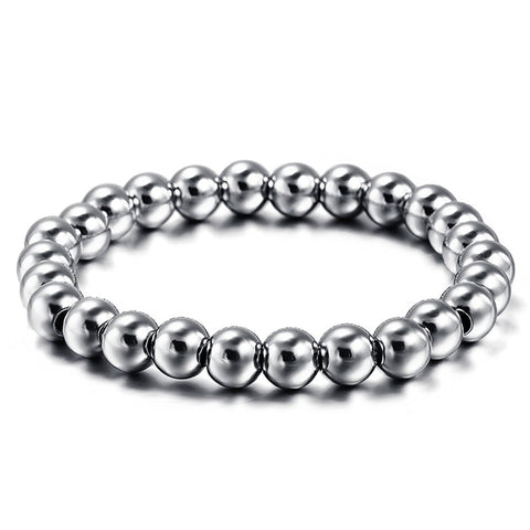 Mens Classical Heavy Metal 8mm Ball Link Chain Bracelet