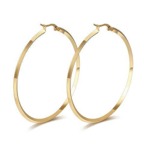 Big Stainless Steel Gold-color / Silver-Color Round Hoop Earrings