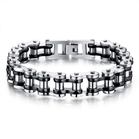 Silver & Black Stainless Steel Mens Bicycle Chain Link Bracelet