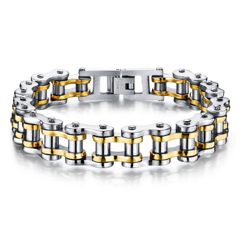 Silver & Gold Stainless Steel Mens Bicycle Chain Link Bracelet