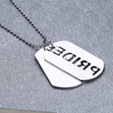 Unisex LGBT Rainbow Dog Tag Pendant Necklace