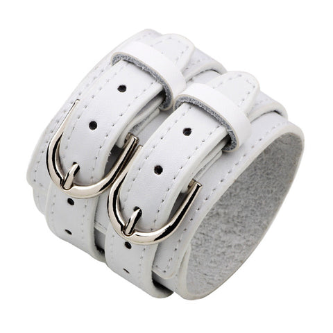 Double Buckle Belt Wide Leather Cuff Bracelet