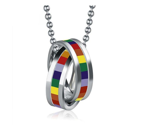 UNisex LGBT Stainless Steel Rainbow Gay Pride Necklace
