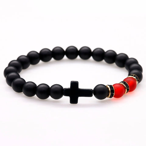 Black Matte Onyx Stone Bead With Cross Bracelet