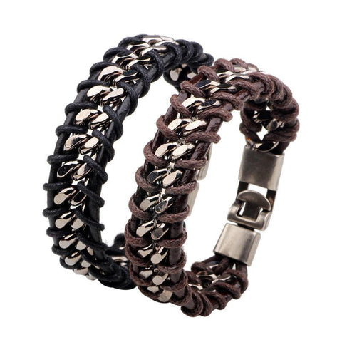 Leather Weave Handmade Wrist Band Bracelet