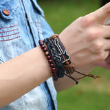 Guitar Charm Hand Wrap Leather Stacked Wrist Band Bracelets