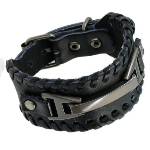 Black Leather Multi Layer Braid Rope Bracelet