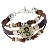 Leather Horoscope Zodiac Charm Bracelet