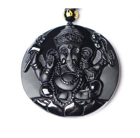 Black Obsidian Carved Ganesh Elephant Necklace