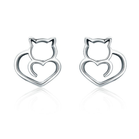 Sterling Silver Cute Cat Love Heart Small Stud Earrings