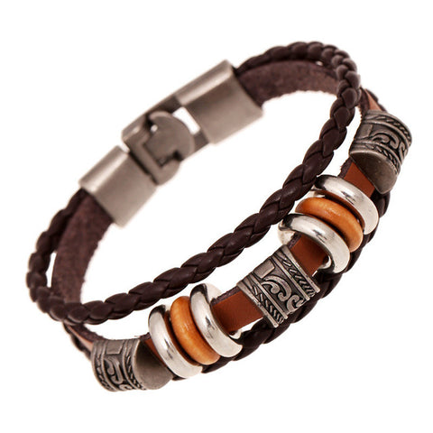 Handmade Vintage Boho Multiple Layers Leather & Charm Bracelet