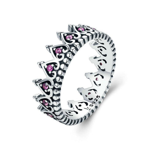Silver Romantic Stackable Crown Heart Pink CZ Finger Ring