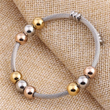 Stainless Steel Cable With Bead Stretch Bangle Bracelet