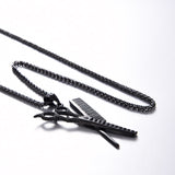 Barbers Comb & Scissors Unisex Hair Hairdressing Stylist Pendant Necklace