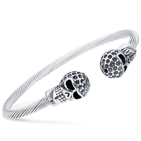 Antique Silver Punk Skull Stainless Steel Bracelet Bangle