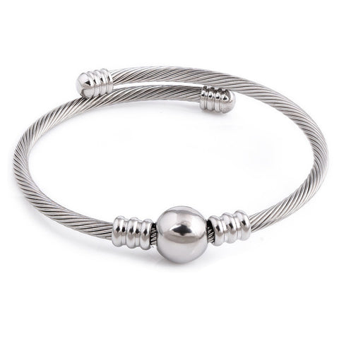 Stainless Steel Elastic Wire Charm Clasp Bracelet