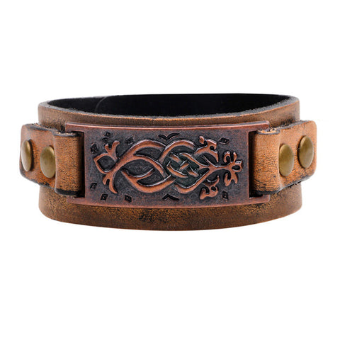 Leather Antique Embossed Cuff Bracelet