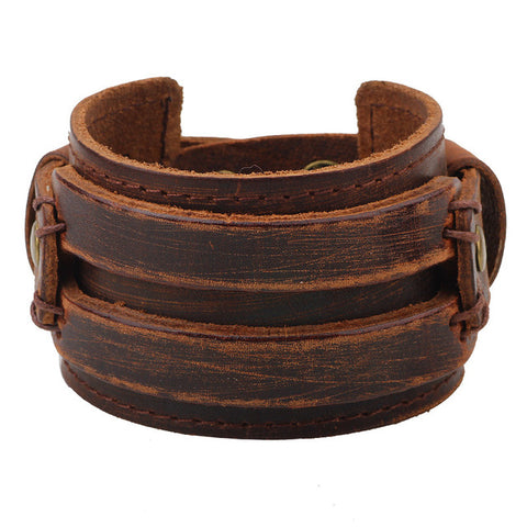 Leather Antique Wide Cuff Bracelet